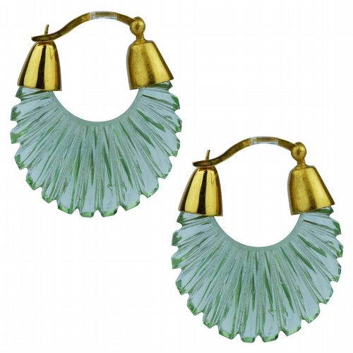 Ettienne - Glass Hoop Earrings - Green